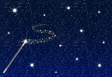 dark blue: Winter night with falling snowflakes, magic wand and stream of stars Illustration