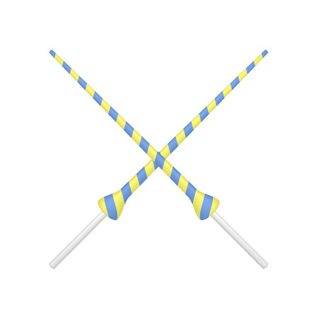 pageant: Two crossed lances in yellow and blue design Illustration