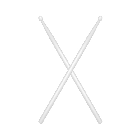drumsticks: Two crossed wooden drumsticks in white design