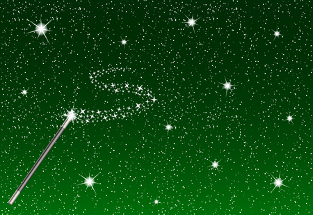 the miracle: Winter night with falling snowflakes, magic wand and silver stream of stars