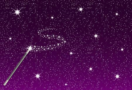 magie: Nuit d'hiver avec des flocons de neige qui tombent, baguette magique et flux d'argent des étoiles Illustration