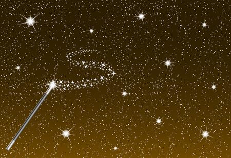 magia: Noche de invierno con la ca�da de copos de nieve, la varita m�gica y el arroyo de plata de las estrellas Vectores