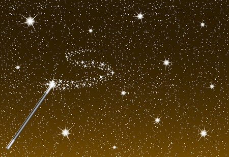 star wand: Winter night with falling snowflakes, magic wand and silver stream of stars
