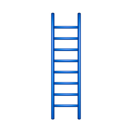 steady: Wooden ladder in blue design Illustration