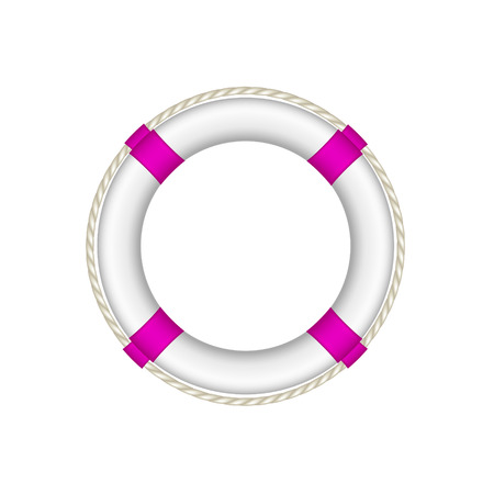 swimming belt: Life buoy in white and purple design with rope around Illustration
