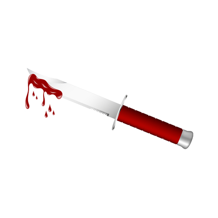 dark red: Knife with dark red handle and bloody blade Illustration
