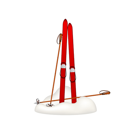 bamboo stick: Old wooden skis and old ski poles