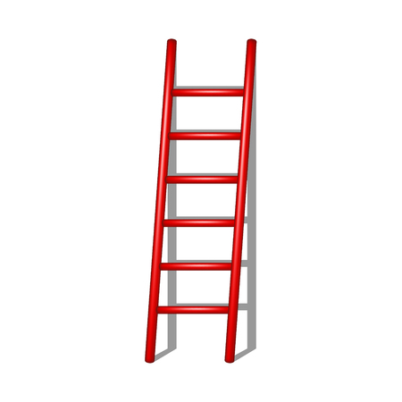 rung: Wooden ladder in red design with shadow Illustration
