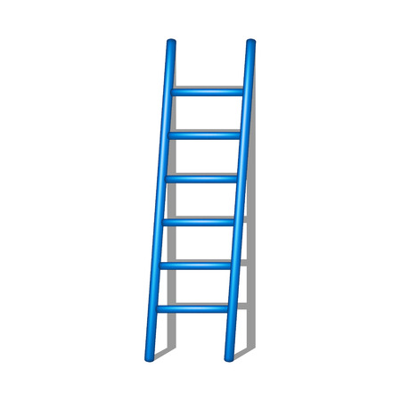 rung: Wooden ladder in blue design with shadow