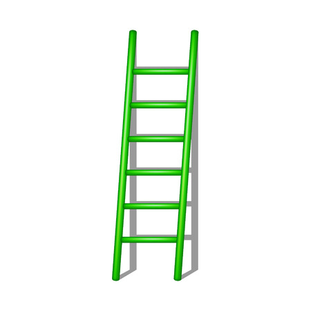 rung: Wooden ladder in green design with shadow