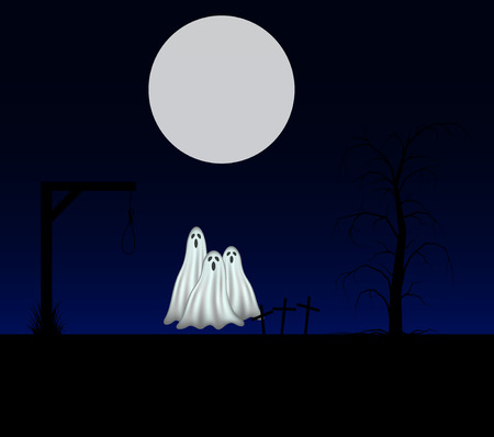 ghost: Spooky background with three ghosts standing in the cemetery