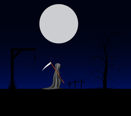 Spooky background with grim reaper with scythe in a cemetery Illustration