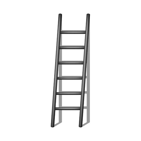 rung: Wooden ladder in black design with shadow