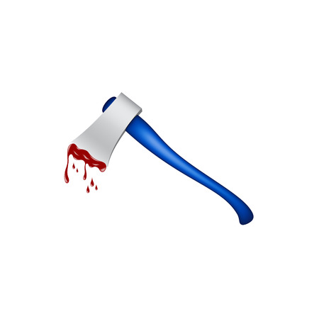 red handed: Old axe with wooden handle in blue design and bloody blade