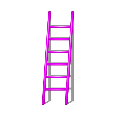 rung: Wooden ladder in pink design with shadow Illustration