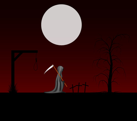 cruel: Spooky background with grim reaper with scythe in a cemetery Illustration