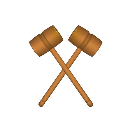 wood working: Two crossed wooden mallets in brown design Illustration