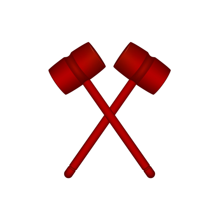 rivalry: Two crossed wooden mallets in red design