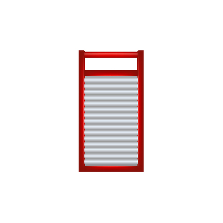 rub: Wooden washboard in red and silver design Illustration