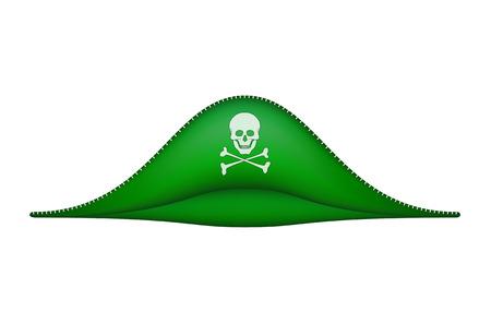 sombrero pirata: Sombrero de pirata con el símbolo de la calavera