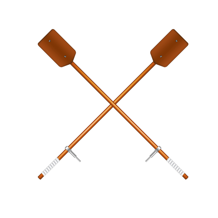 oars: Two crossed old oars in brown design