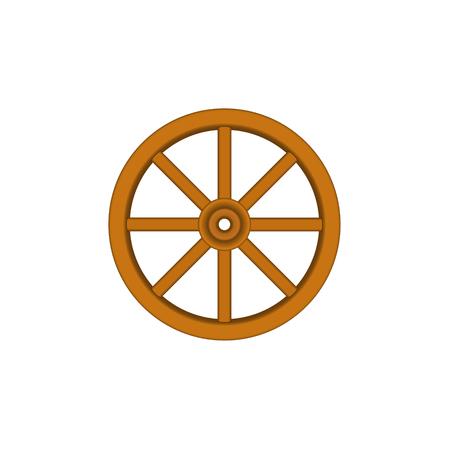 cartwheel: Vintage wooden wheel in brown design Illustration