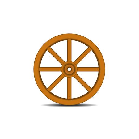 Vintage houten wiel met schaduw Vector Illustratie