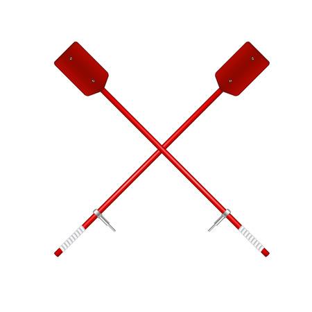 oar: Two crossed old oars in red design Illustration