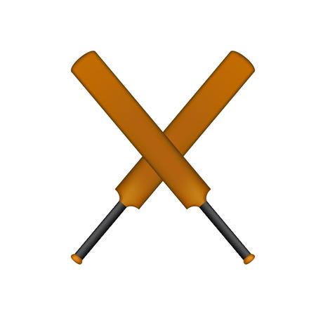Crossed cricket bats in vintage design