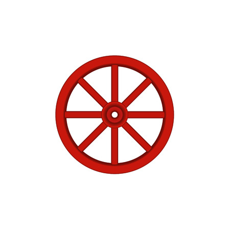 cartwheel: Vintage wooden wheel in red design