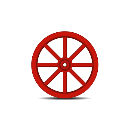 axle: Vintage wooden wheel with shadow