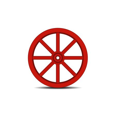 cartwheel: Vintage wooden wheel with shadow