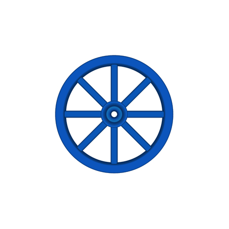 Vintage houten wiel in blauw ontwerp Vector Illustratie
