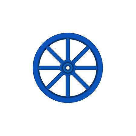 cartwheel: Vintage wooden wheel in blue design