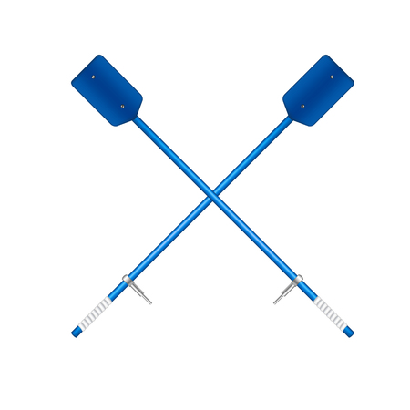 oars: Two crossed old oars in blue desing Illustration