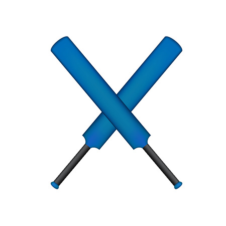 rivalry: Crossed cricket bats in blue design Illustration