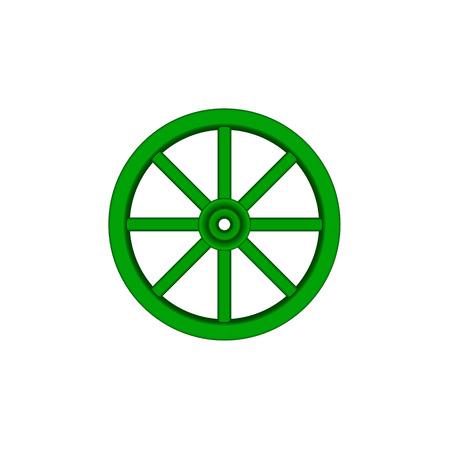 cartwheel: Vintage wooden wheel in green design