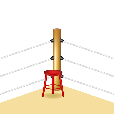 wooden stool: Boxing corner with red wooden stool
