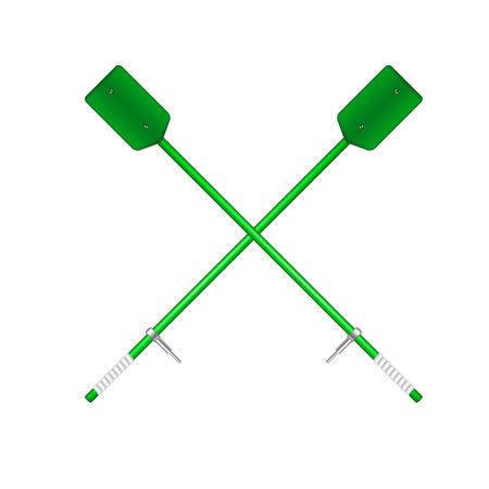in oars: Two crossed old oars in green design Illustration