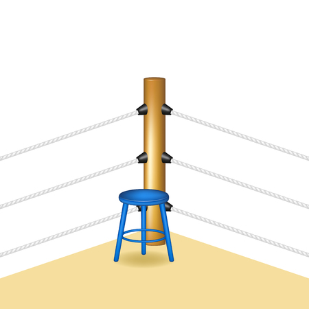wooden stool: Boxing corner with blue wooden stool