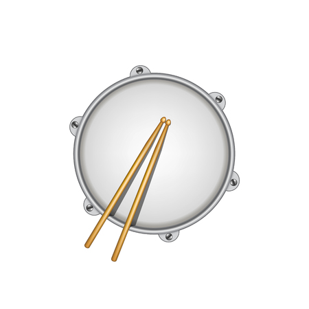 drumsticks: Drum and pair of wooden drumsticks Illustration