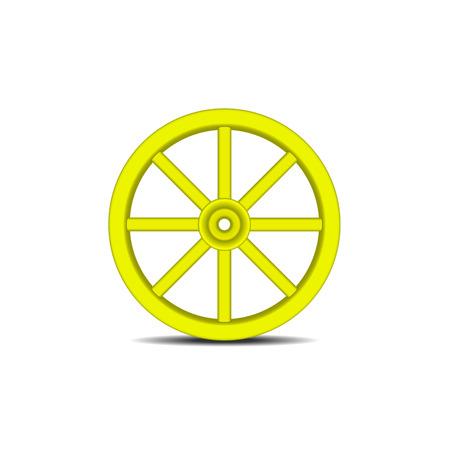 cartwheel: Vintage wooden wheel in yellow design with shadow