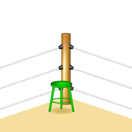 wooden stool: Boxing corner with green wooden stool