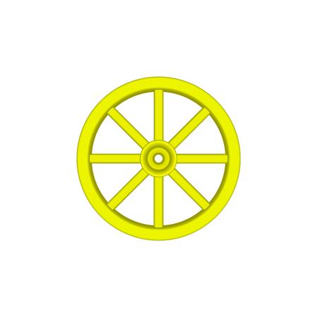 cartwheel: Vintage wooden wheel in yellow design