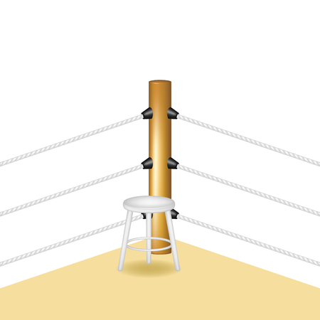 wooden stool: Boxing corner with white wooden stool and white ropes