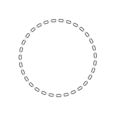 iron hoops: Chain in shape of circle in black and white design Illustration
