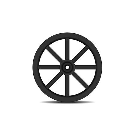 cartwheel: Vintage wooden wheel in black design with shadow Illustration