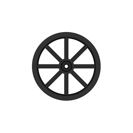 cartwheel: Vintage wooden wheel in black design Illustration
