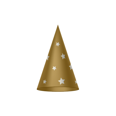 silver stars: Brown sorcerer hat with silver stars Illustration