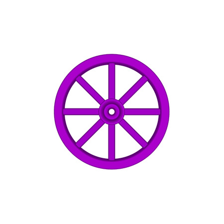 cartwheel: Vintage wooden wheel in purple design Illustration
